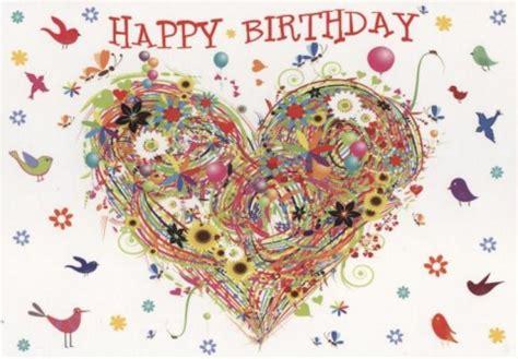 schoene postkarte geburtstag happy birthday herz bunt