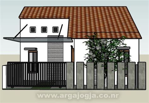 desain sketch eksterior rumah mungil minimalis type