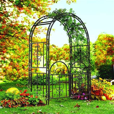 wrought iron arbor with gate wrought iron arbor metal garden arch gate flower trellis 1966
