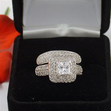 3 ct 925 sterling silver princess cut wedding engagement ring free ring box ebay
