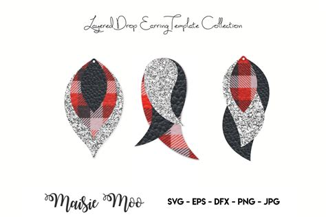 Floral earrings svg file design with a repeated pattern of flower petal. Earring SVG | Faux Leather Earring Templates