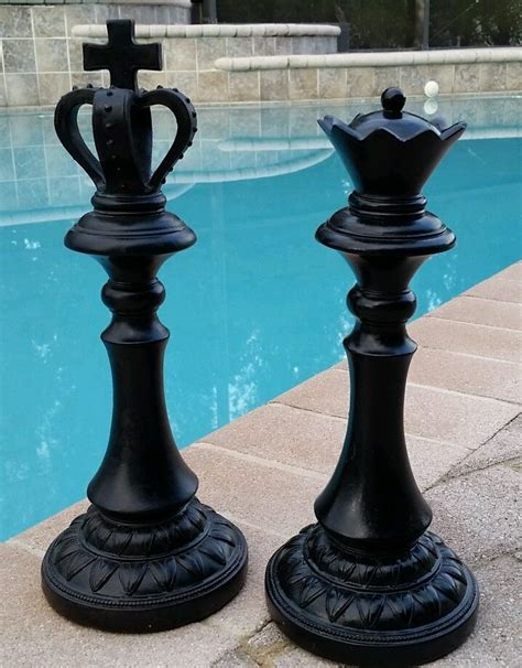 set of large 13 quot king chess distressed modern home decor