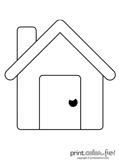 Coloring Home by Simple House Coloring Page Print Color