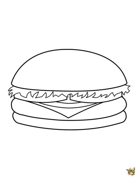 jeux de cuisine hamburger hamburger est un coloriage de plats à imprimer