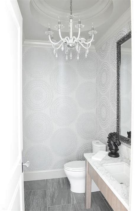 silver powder room   tray ceiling transitional