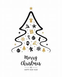 Merry christmas tree icon elements greeting text card ...