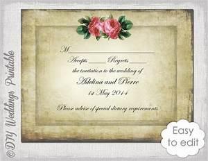 wedding rsvp template download diy vintage quotvalentine With wedding rsvp cards free download