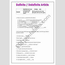 Definite Or Indefinite Article  Esl Worksheet By Yureca