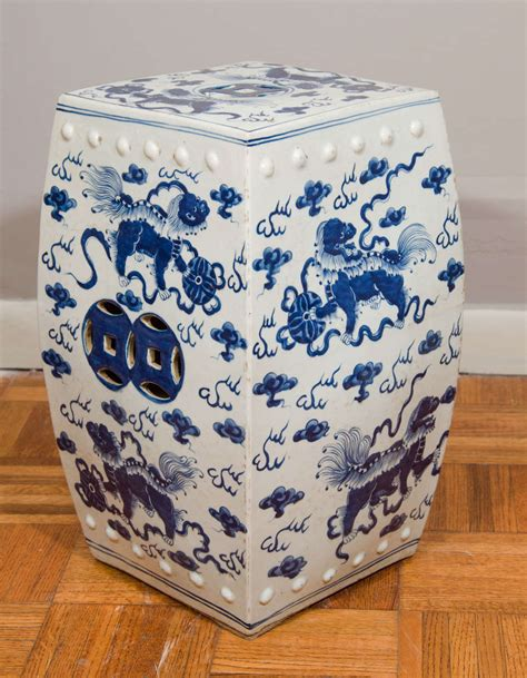 blue and white garden stool blue and white garden stool at 1stdibs