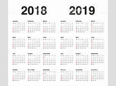 2018 2019 년 달력 벡터 일러스트 847538126 iStock