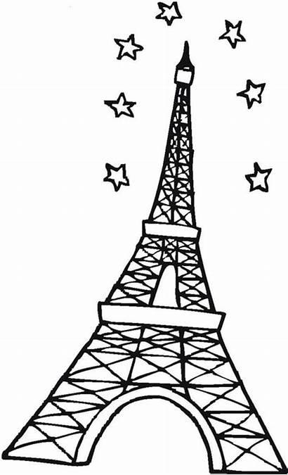 Eiffel Tower Coloring Paris Sky Stars Pages