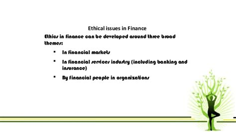 ethical issue  finance