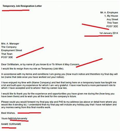 Letter Resignation Temporary Job Example Resign Examples