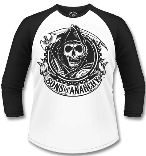 sons of anarchy shirts official sons of anarchy reaper banner sleeved baseball t shirt somethinggeeky