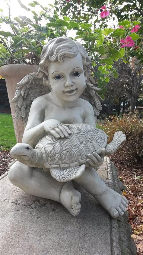 cherub garden statues cherub turtle garden statue on at wing and a prayer