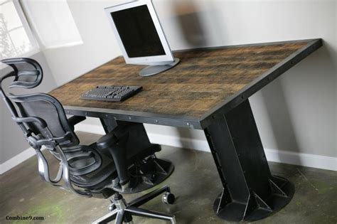industrial style home office desk modern industrial desk table steel i beam urban loft