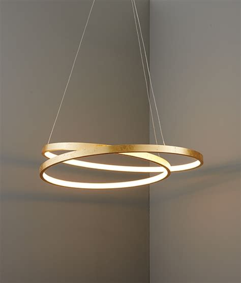 double ring suspended led pendant  gold leaf