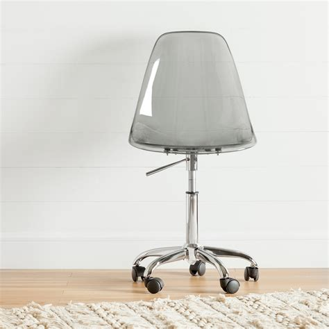south shore annexe clear smoked gray acrylic office chair