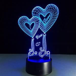 3d Led Lamp Design I Love You Heart Balloons 3d Led Lamp