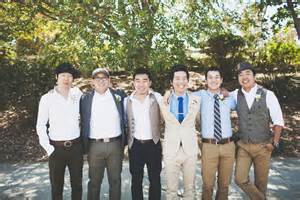 Wedding Party Groomsmen with Mismatched Bridesmaid Dress