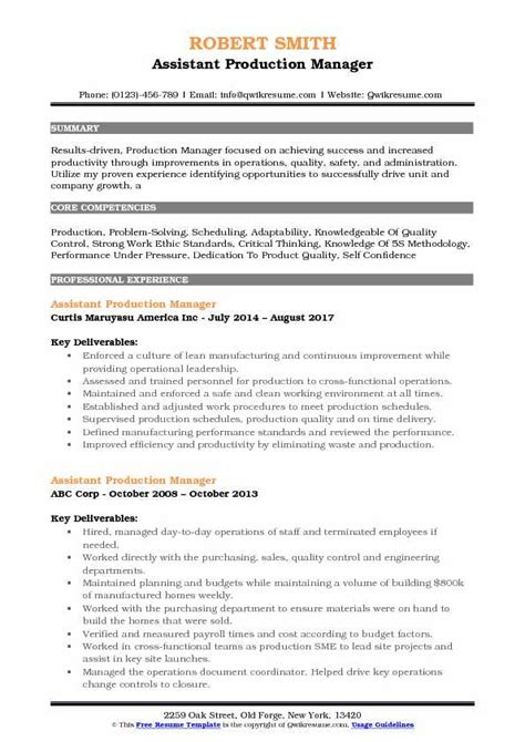 Production Manager Resume by Assistant Production Manager Resume Sles Qwikresume