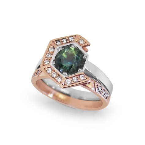 sapphire engagement ring hexagon anti halo ring fairina cheng jewellery