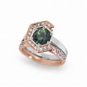 Sapphire engagement ring hexagon anti halo ring for Anti wedding ring