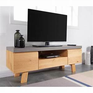 Meuble Tv Effet Beton : fjord meuble tv 130 cm plaqu ch ne et d cor effet b ton achat vente meuble tv fjord ~ Teatrodelosmanantiales.com Idées de Décoration