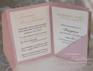 gold and pink wedding pocketfold invitations 24 invites With wedding invitation fold out envelope