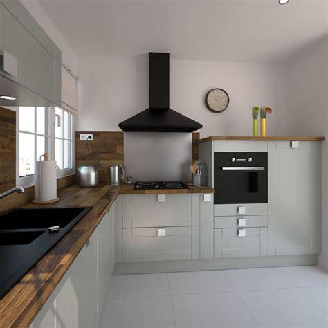 modele de hotte de cuisine cuisine équipée grise bois moderne filipen gris mat