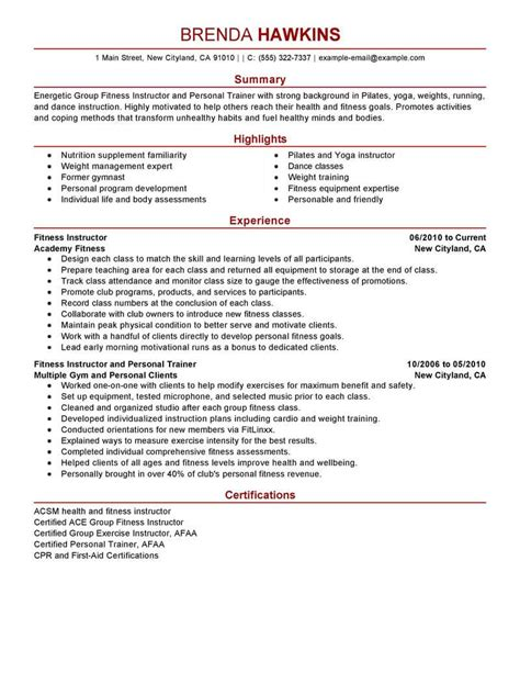 Fitness Instructor Resume by Best Fitness And Personal Trainer Resume Exle Livecareer
