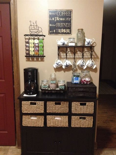 Coffee serving station idea using a farmhouse style sideboard. Coffee Bar   Decor Ideas in 2019   Home coffee stations, Coffee corner kitchen, Coffee bar design