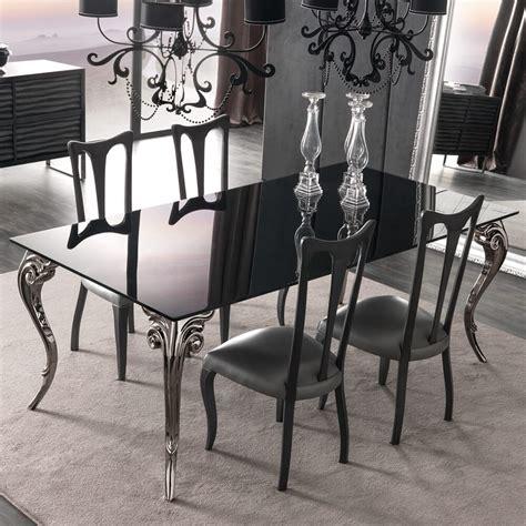 large black glass dining table set juliettes interiors