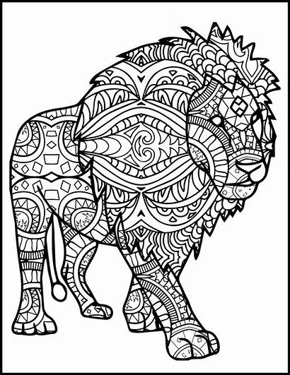 Mandala Coloring Lion Pages Adult Adults Animal