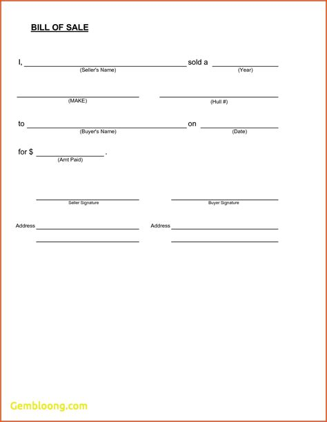 Vehicle Bill Of Sale Template Simple Bill Of Sale Template New Inspirational Vehicle