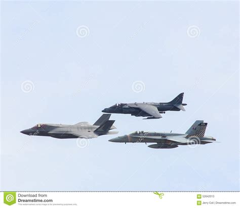 Usn F-35, Harrier And Fa-18 Super Hornet. Editorial Stock