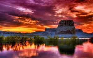 Arizona, Sunset, Scenery, Lake, Rocky, Mountains, Orange, Clouds