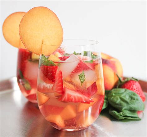 Rose Sangria With Strawberries Peaches Basil Recipe