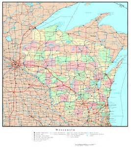 Printable Political Map of Wisconsin