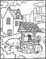 Water Well Colouring Fetching Drawing Kiddicolour Pages sketch template
