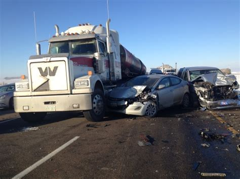 Thirteen Sent To Hospital After Six Semi-trucks And Over