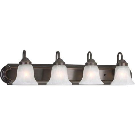 Home Depot Bathroom Vanity Light Fixtures by Progress Lighting Alabaster Glass 4 Light Antique Bronze
