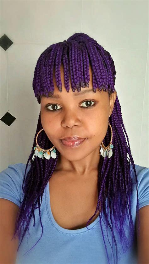 purple box braids with fringe casual look nonjabulosa