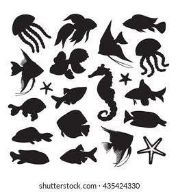 sea animals silhouette images stock  vectors