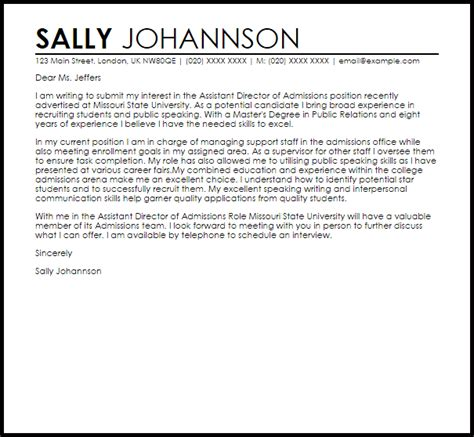 assistant director of admissions cover letter sle