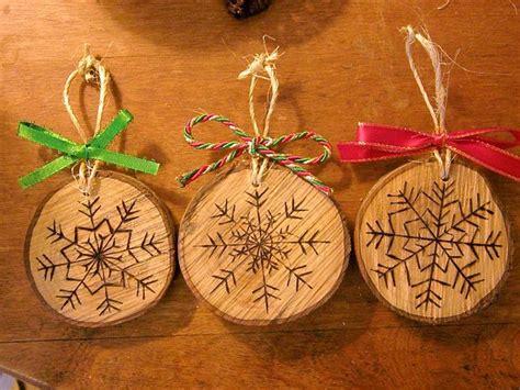 wood burned snowflake christmas ornaments