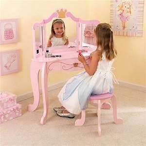 Coiffeuse Bois Enfant : coiffeuse en bois et tabouret rose pour enfant princesse ~ Teatrodelosmanantiales.com Idées de Décoration