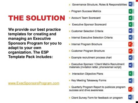 best practices template executive sponsor program roi best practices