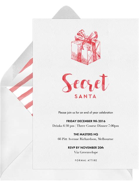 secret santa invitations greenvelope