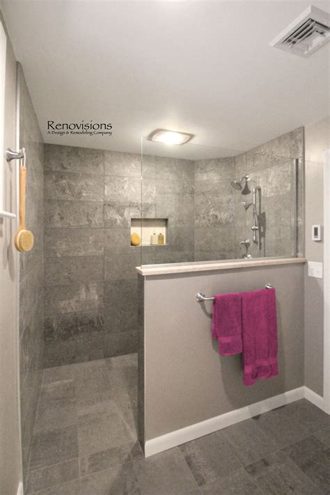 wall shower glass unique tile bathrooms small